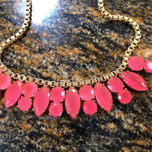 Kate Spade hot salmon pink jeweled choker necklace